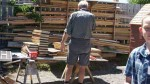 Peter organising donated timber for the next batch